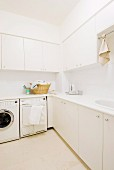 Functional white utility room