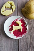 Potato print - cut-out potato deer