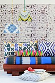 African-style home fabrics with blurred batik and printed patterns