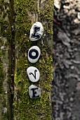 Beschriftete Steine auf Holzstamm mit Moosbelag