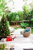 Christmas atmosphere on terrace in topical garden