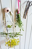 Herb flowers in tiered hanging basket hand-crafted from aluminium wire