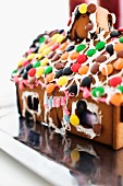 Gingerbread house decorated with Smarties