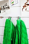 Green towels on stainless steel wall hooks below photos on wall