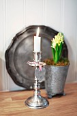Lit candle in silver candlestick in front of potted hyacinth and pewter plate leaning against wall