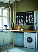 Simple, functional kitchen with various electrical appliances under wooden work surface and modern calender on olive-green wall