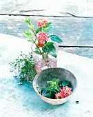 Flowers in glass and bowl