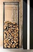 Designer-style, minimalist, metal firewood rack