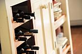Wine rack in kitchen base unit