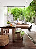 Modern courtyard; rustic table and benches next to open glass wall, dog standing in front of wooden terrace with steps and tall bamboo against garden wall
