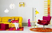 Snazzy seating area in yellow and violet - sofa and cube pouffes on brightly patterned rug with armchair, side table and standard lamp on round rug to one side
