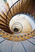 View down a spiral staircase