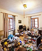 Living room of a person with hoarding disorder
