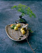 Crab apples on decorative plate & dill umbel in vase