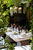 Garden table with place settings