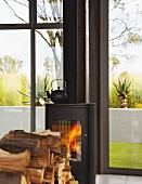 Wood-burning stove in front of steel and glass facade with view of garden; stacked firewood in foreground