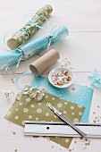 Hand-crafting Christmas crackers