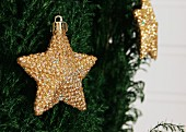 Gold, star-shaped Christmas decoration hanging on conifer