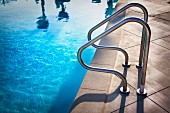 Railings by swimming pool; Azusa; California; USA