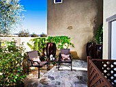 Outdoor seating on a patio; Murrieta; California; USA