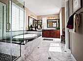 Contemporary bathroom with marble floor; San Marcos; California; USA