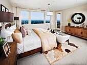 Interior of contemporary bedroom; Brea; California; USA