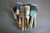 Used flat paintbrushes