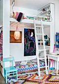 Bunk beds with ladder and rug with zigzag pattern in children's bedroom