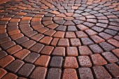 Detail of circular brick paving; Laguna Niguel; California; USA