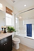 Contemporary bathroom with toilet and glass shower; San Marcos; California; USA
