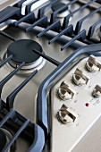 Close-up of gas burner in kitchen; Valencia; California; USA