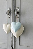 Heart shaped decorations hanging on handle