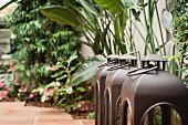 Drei Laternen als Deko auf Gehweg vor bepflanzter Hauswand (Nahaufnahme)