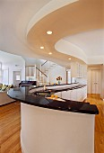 Curved kitchen counter in modern house