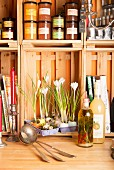Egg box and egg shells used as planter for crocuses in kitchen shelves made from wooden crates