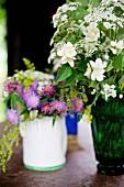 Vase of garden flowers