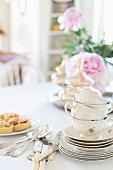 Stacked, vintage-style teacups on saucers