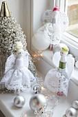 Hand-sewn angel dolls as Christmas decorations