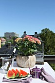 Slices of melon on plate and potted hydrangea on table with white tablecloth on balcony