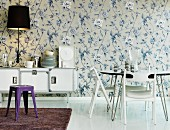 Floral wallpaper in dining room