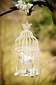 Hen ornament in nostalgic birdcage & snowdrops hanging from tree