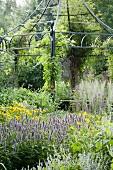 Gartenpavillon aus filigraner Metallkonstruktion, davor blühende Stauden