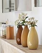 Drei nebeneinander stehende Vasen aus Keramik in verschiedenen Brauntönen mit Blütenzweig
