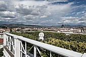 View across roof terrace surrounded by hedge and white balustrade to Florence cityscape