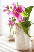 Purple clematis in white ceramic vase
