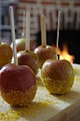 Toffee apples coated with sugar