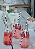 Raspberry drinks in three glass bottles with black and white drinking straws on set garden table