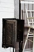 Antique, black, cast iron chimney inspection hatch