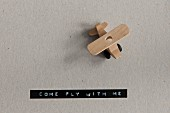 Wooden toy plane and adhesive tape from label maker reading -COME FLY WITH ME-