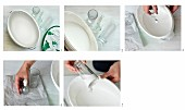 Craft idea with instructions - dipping glass items in white paint